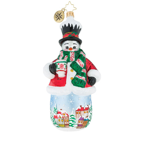 Christopher Radko Cup Of Joe On The House! Snowman Ornament