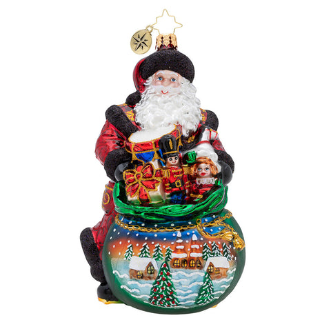 Christopher Radko Delightful Delivery Santa Ornament