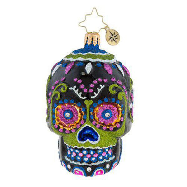 "Christopher Radko Drop Dead Gorgeous Skull Little Gem 3.5"" ornament"