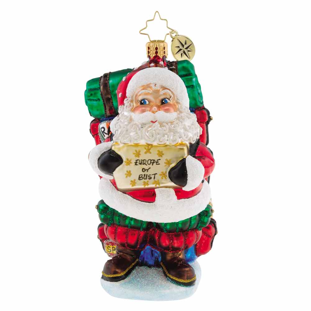 Christopher Radko Europe or Bust! Santa Ornament New 2018