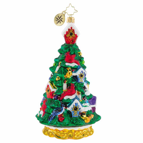 Christopher Radko Fir Tree Flock with Bird Houses Ornament