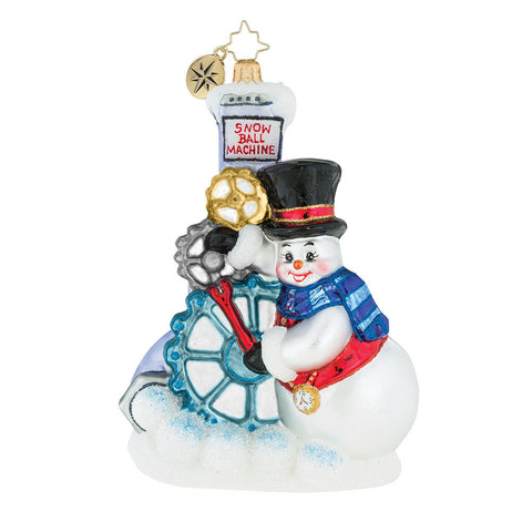 Christopher Radko Gearing Up For Christmas Snowman Ornament SALE