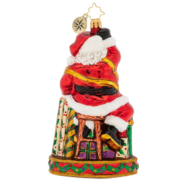 Christopher Radko Gift Wrapping Extraordinaire Santa Ornament