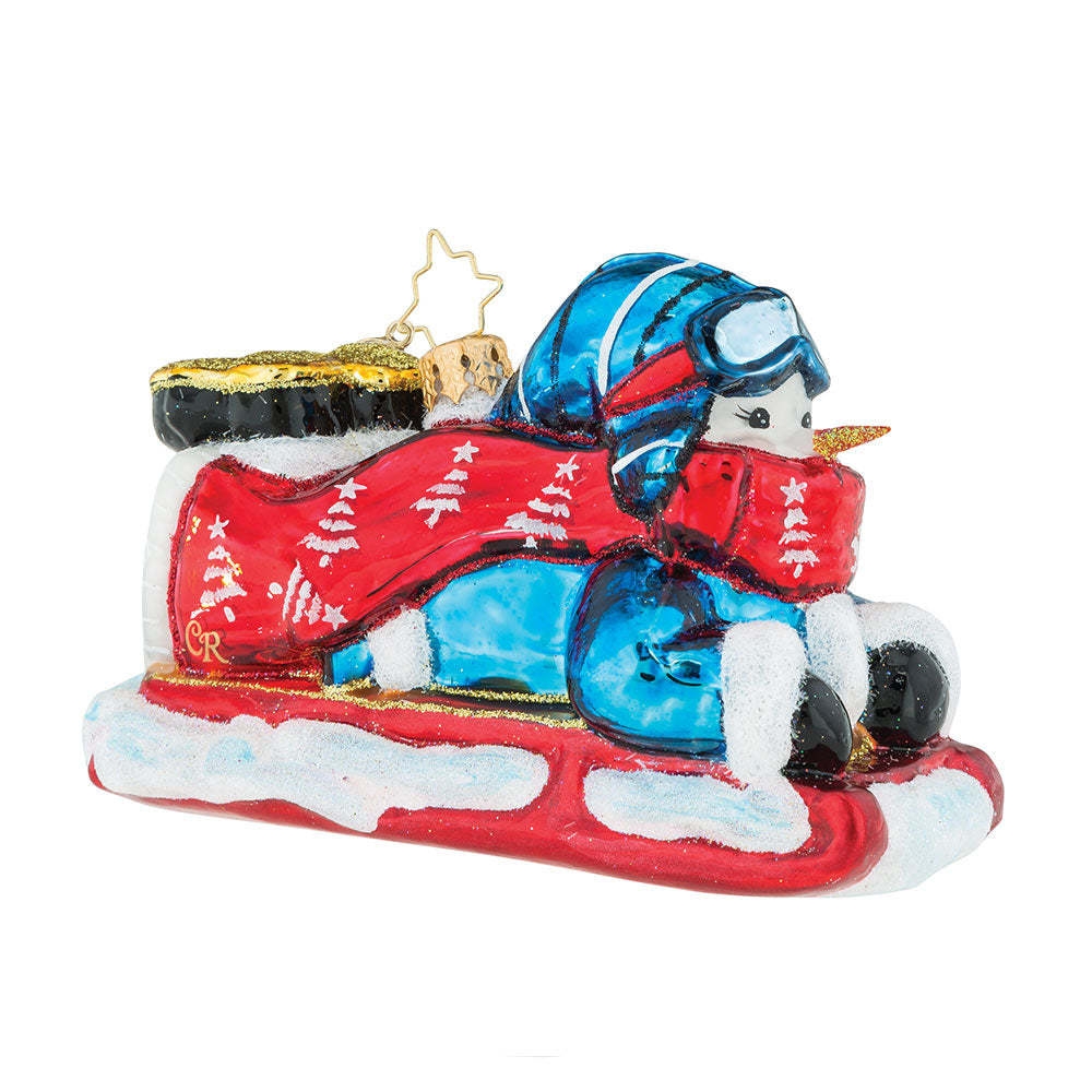 Christopher Radko Going Downhill Gladly SLEDDING Ornament