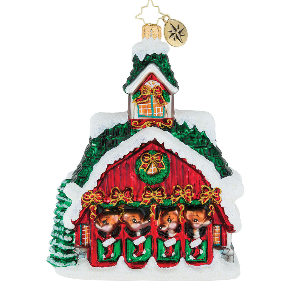 Christopher Radko Good Night Donner Blitzen Barn ornament