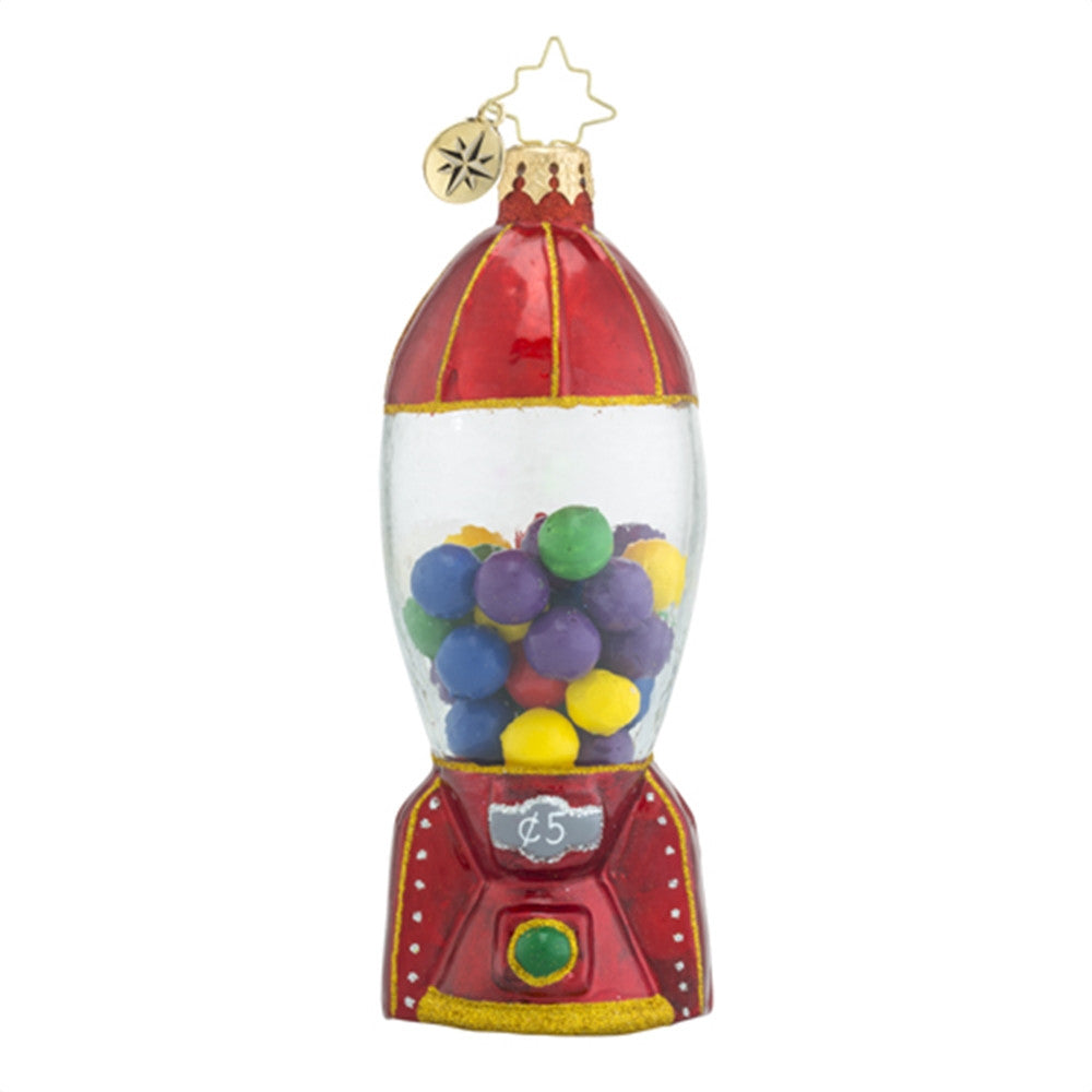 Christopher Radko Gumball Blast off! Rocket Bubble Gum Ornament