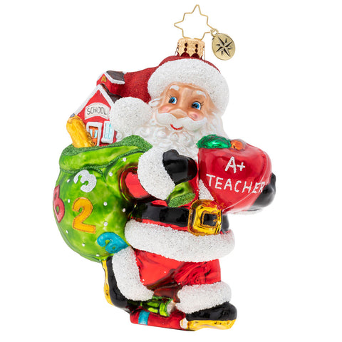 Christopher Radko Hall Pass For Santa Teacher School Ornament