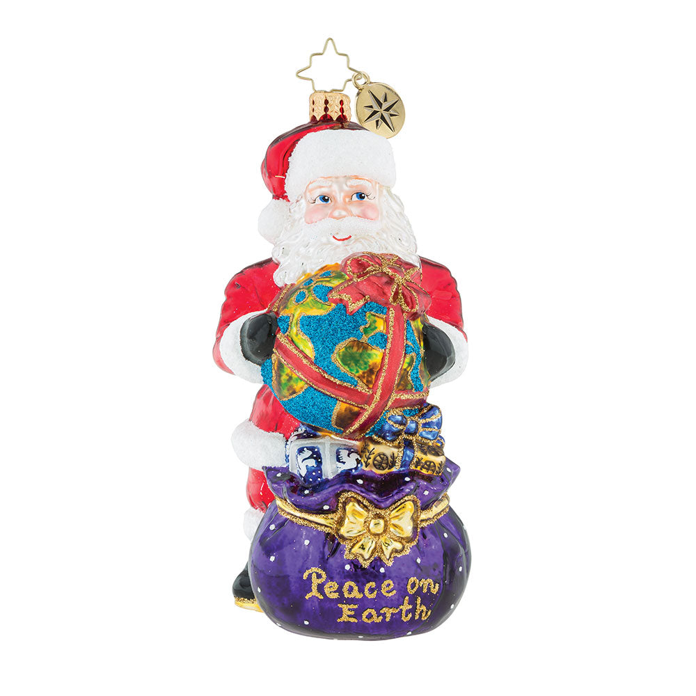 Christopher Radko He's Got The Whole World Santa Ornament