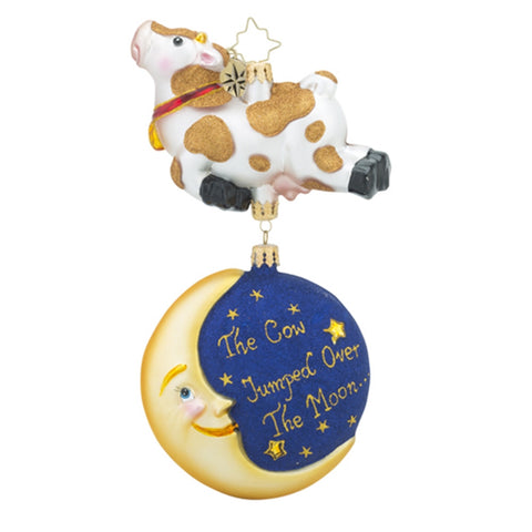 Radko Hey Diddle Cow Moon Ornament New