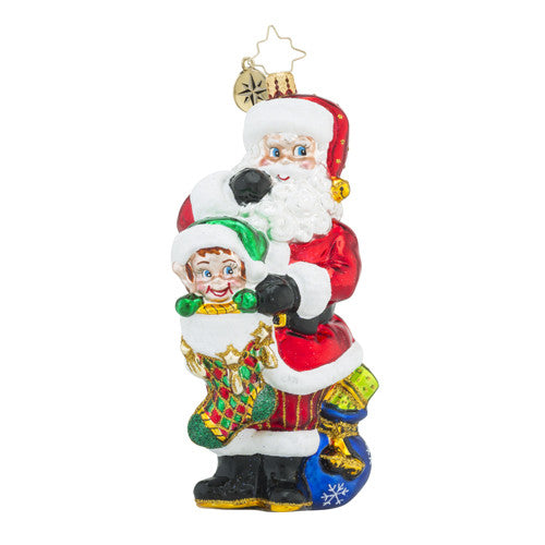 Christopher Radko Hideaway Helper Santa & Elf Ornament New