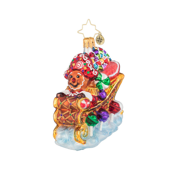 Christopher Radko Hold on Tight Gem Gingerbread Man Sleigh Ornament