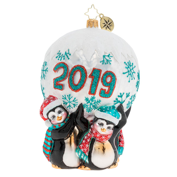 Christopher Radko 2019 Dated Holding Up 2019 Penguin Ornament