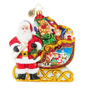 Christopher Radko Home Is Where The Sled Is Santa sleigh Ornament