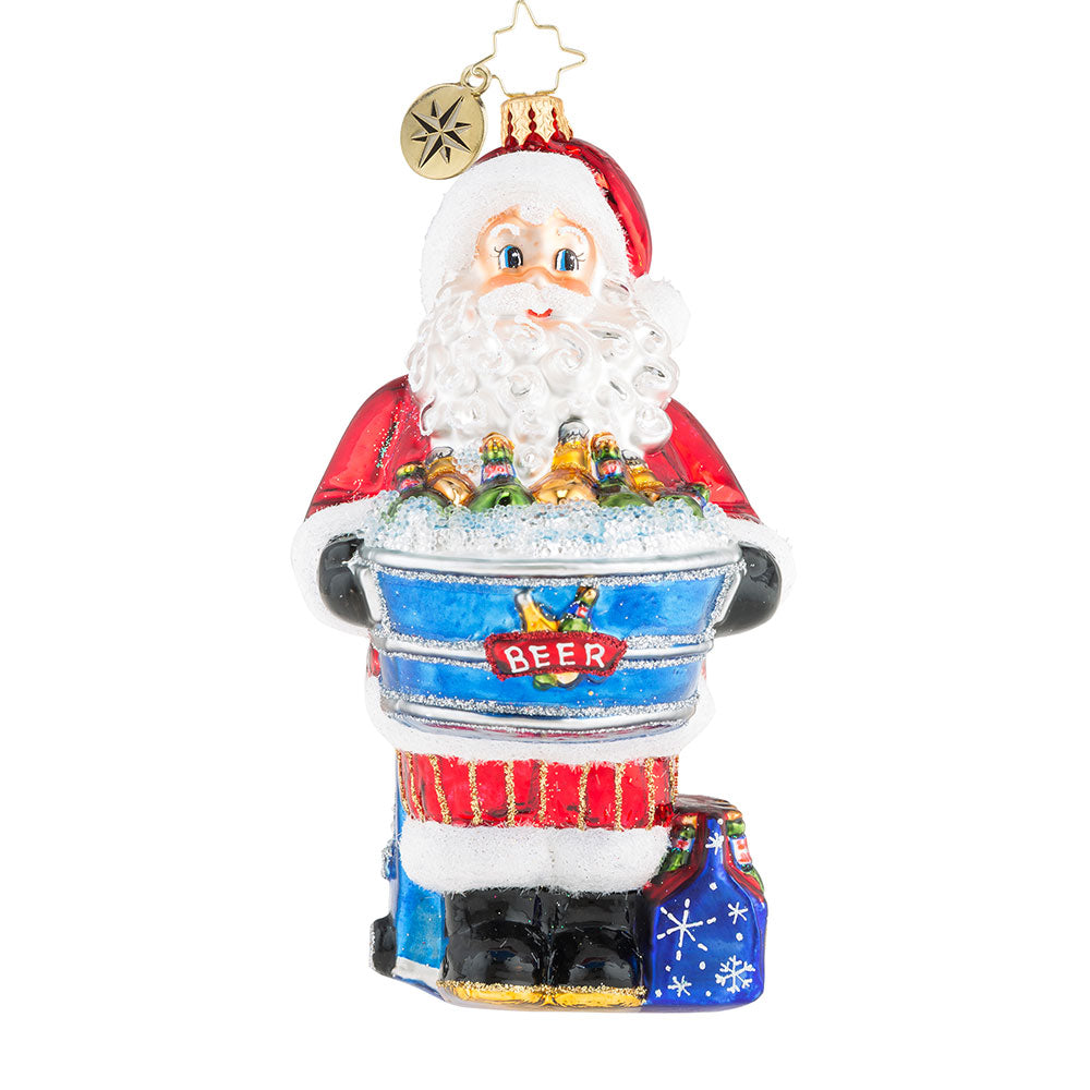 Christopher Radko Hopped Up For The Holidays Santa Beer Ornament
