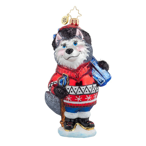 Christopher Radko HUSKY SKIER Dog Ornament NEW