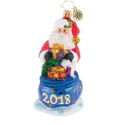Christopher Radko  2018 Dated I Dig 2018 Santa Ornament