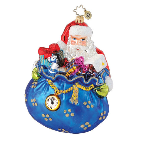 Radko IN THE NICK OF TIME Santa Sack ornament NEW