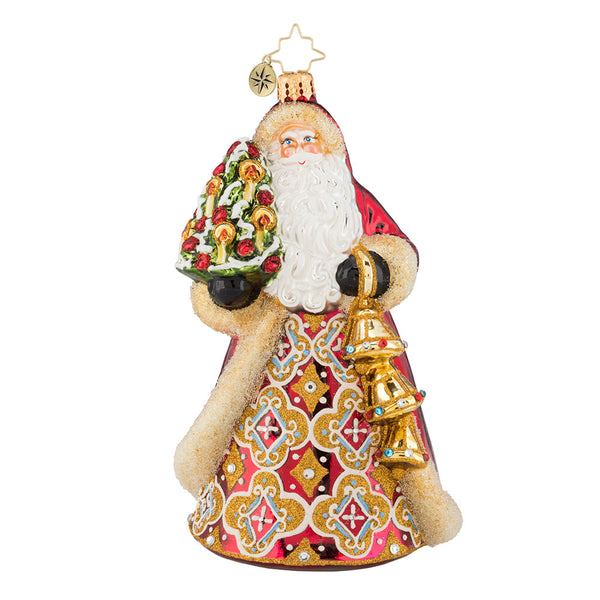 Christopher Radko Jingle for All to Hear Bells Santa Ornament