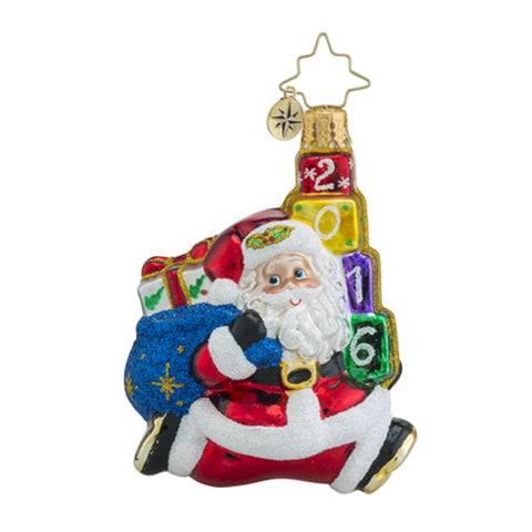 Radko 2016 Dated Jolly Leaping Little Gem Santa Ornament