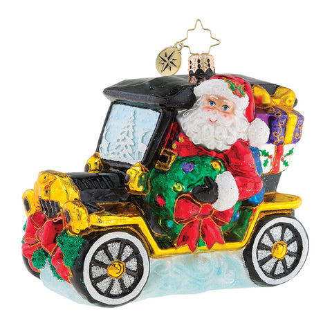 Christopher Radko Joyful Ride Santa Car Ornament