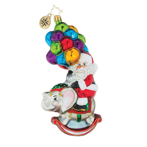 Christopher Radko Just Hang In There Santa Balloons Elephant Ornament