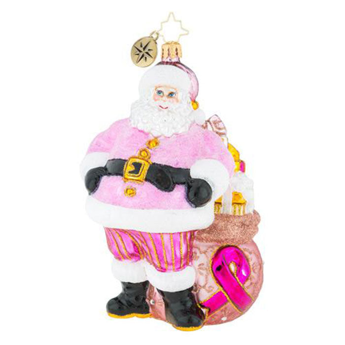 Christopher Radko Pretty in Pink Santa Breast Cancer Ornament