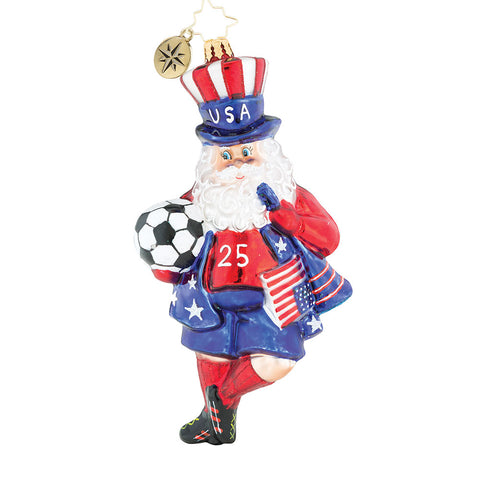 Christopher Radko Kicking Up Your Heels SOCCER Santa Ornament 2018