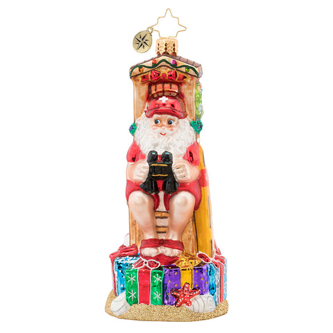 Christopher Radko Lifeguard on Duty Beach Santa Ornament