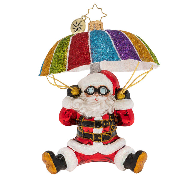 Christopher Radko Look Out Below Santa Parachute Ornament