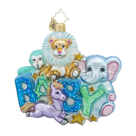Radko Lullaby Baby Zoo Christmas Ornament New