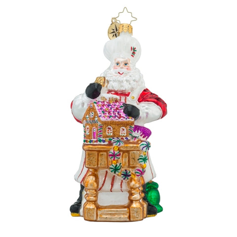 Radko MASTERPIECE IN THE MAKING Santa with Gingerbread House Ornament