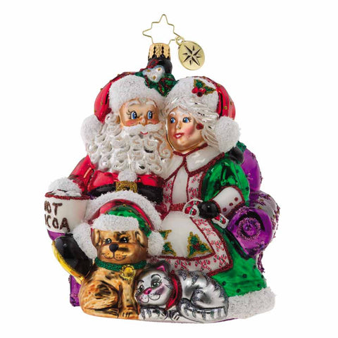 Christopher Radko Mr. & Mrs. Clause Pause Santa Pets Ornament