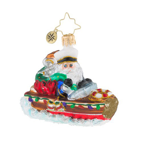 Christopher Radko Nautical Nick Boat Little Gem Ornament