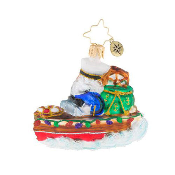 Christopher Radko Nautical Nick Boat Little Gem Santa Ornament