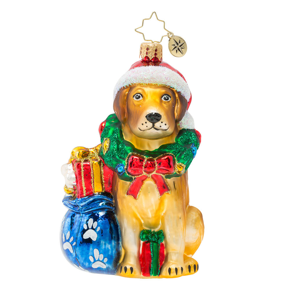 Christopher Radko Noble Yellow Lab Labrador Dog Ornament