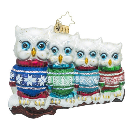 Christopher Radko OWL IN A ROW Family ornament