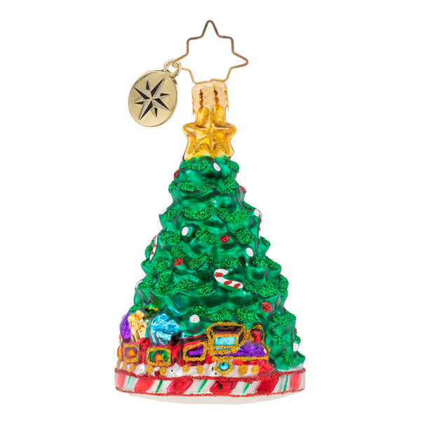 Christopher Radko Peppermint Panache Gem Tree with Train Ornament