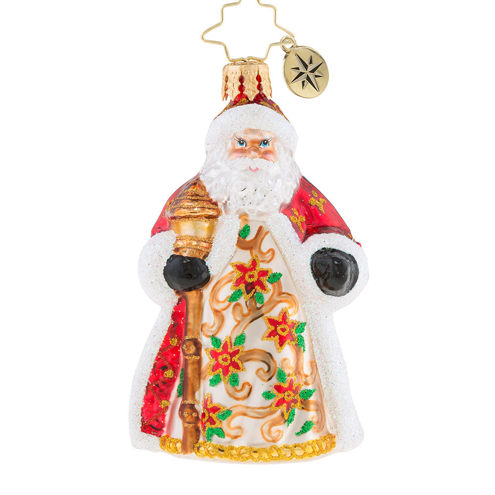 Christopher Radko Poinsettia Passion Little Gem Santa Ornament