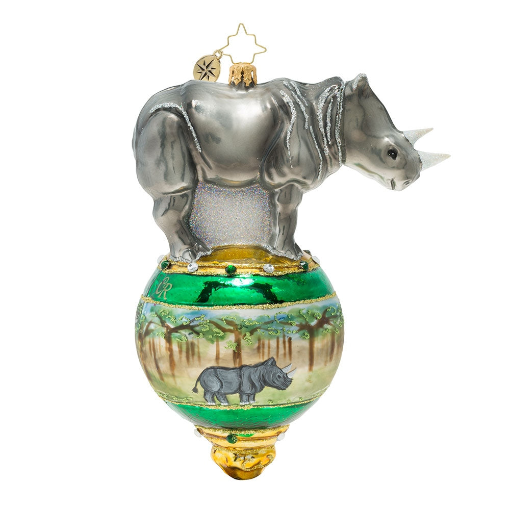Christopher Radko Rambunctious Rhino Ornament