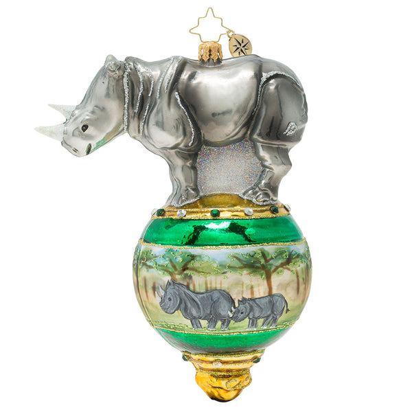Christopher Radko Rambunctious RhinO Jungle Animal Kingdom Ornament