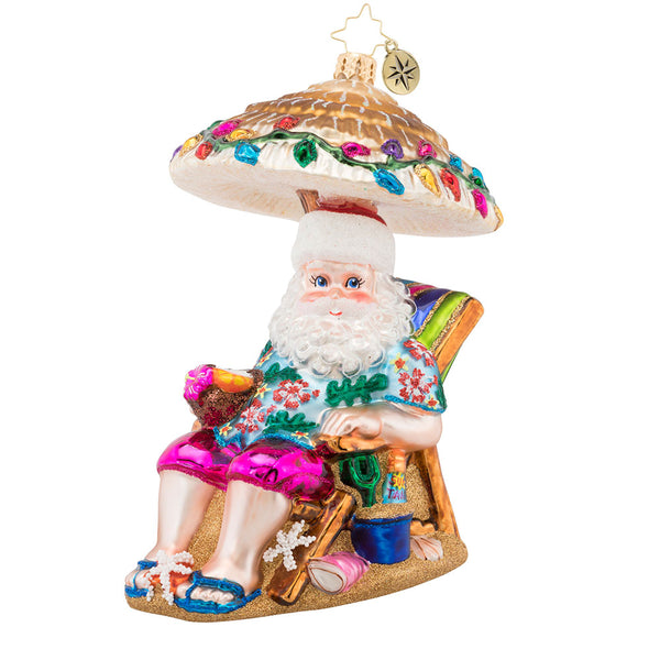 Christopher Radko Relaxing by the Beach Santa Ornament