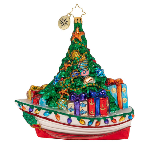 Christopher Radko Riding the Waves of Christmas Boat Ornament