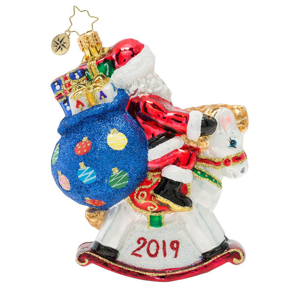 Christopher Radko 2019 Dated Rockin' Around Horse Santa Ornament