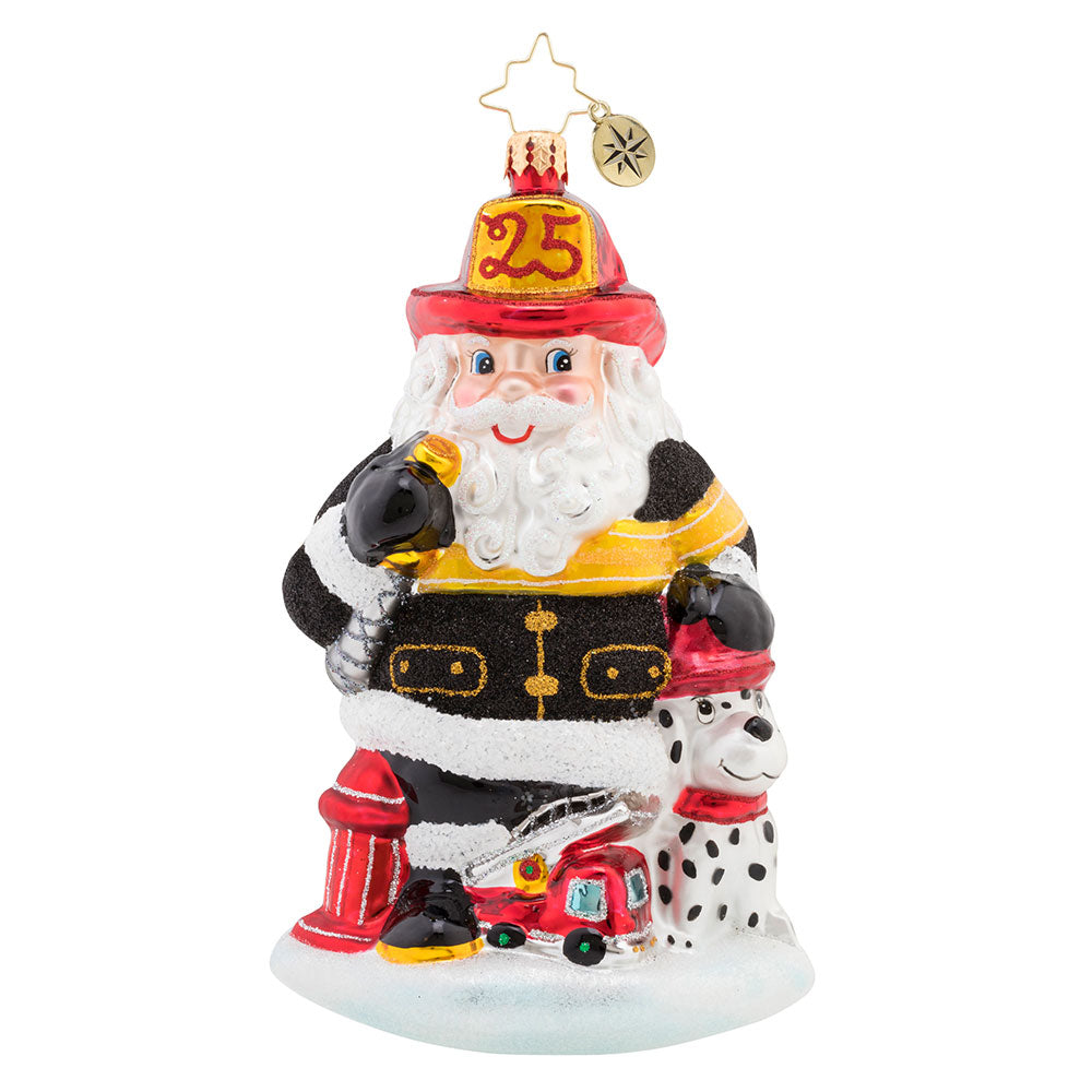 Christopher Radko Santa to the Rescue Firefighter Fireman Ornament