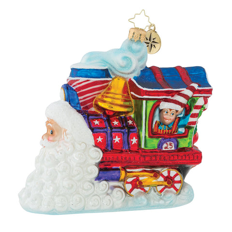 Christopher Radko Santa's On Track for Christmas Train Ornament