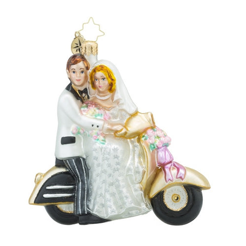 Radko Wedding Scoot Along to Happiness Ornament New 2017