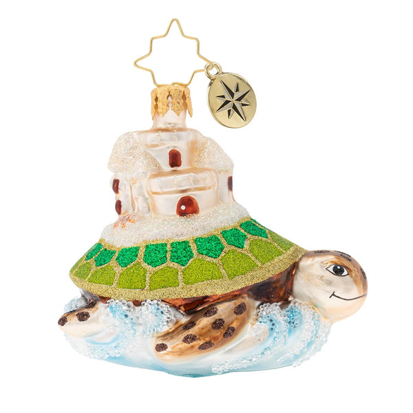 Christopher Radko Sea And Castle Gem Turtle Ornament