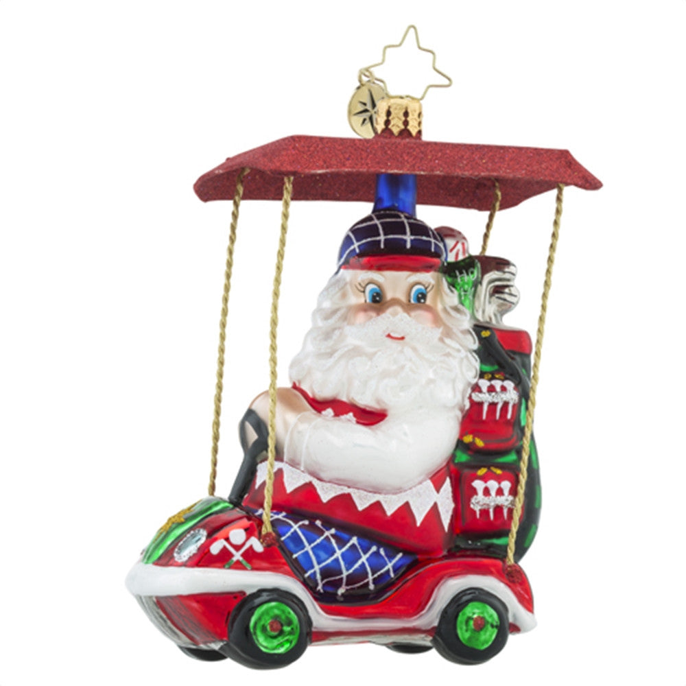 Radko Senior Tour Golf Cart Santa Ornament New