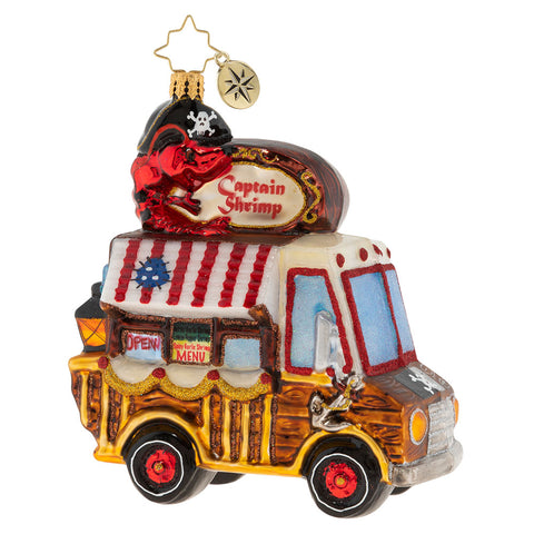 Christopher Radko Shrimp It's What's For Dinner Food Truck Ornament