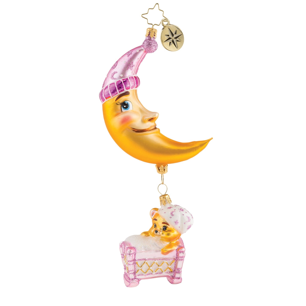 Christopher Radko Baby Sleep Tight Pink Moon Girl Ornament